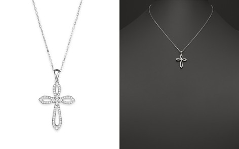 Diamond cross necklace bloomingdales diamond cross pendant necklace in 14k white gold 30 ct tw bloomingdale aloadofball Image collections